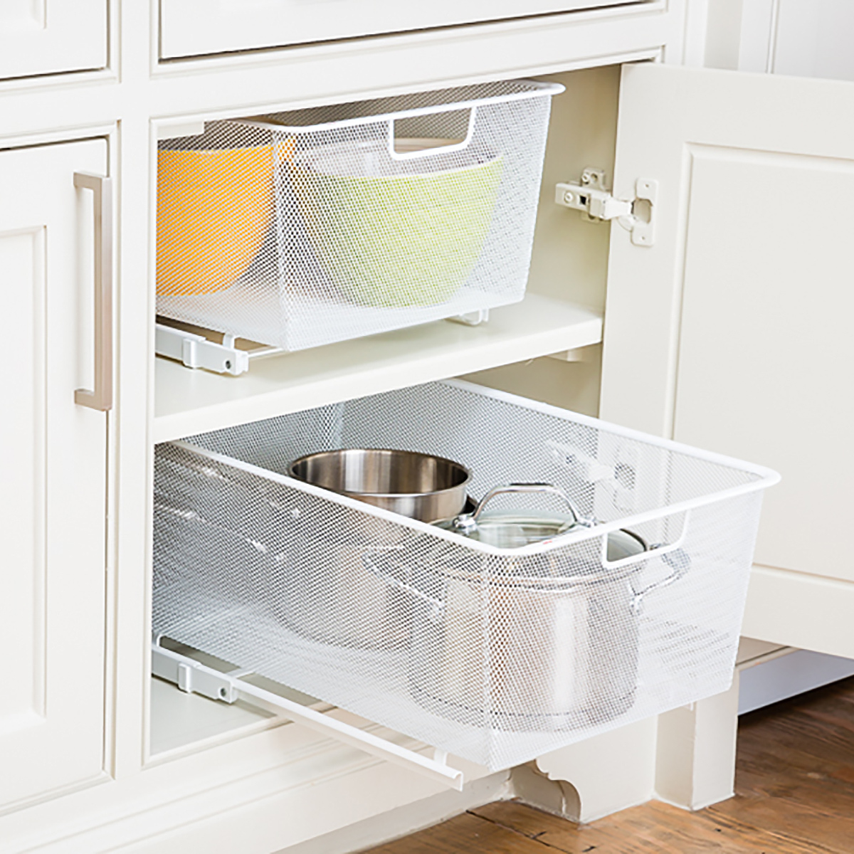 Elfa White Cabinet-Sized Mesh Pull-Out Cabinet Drawers