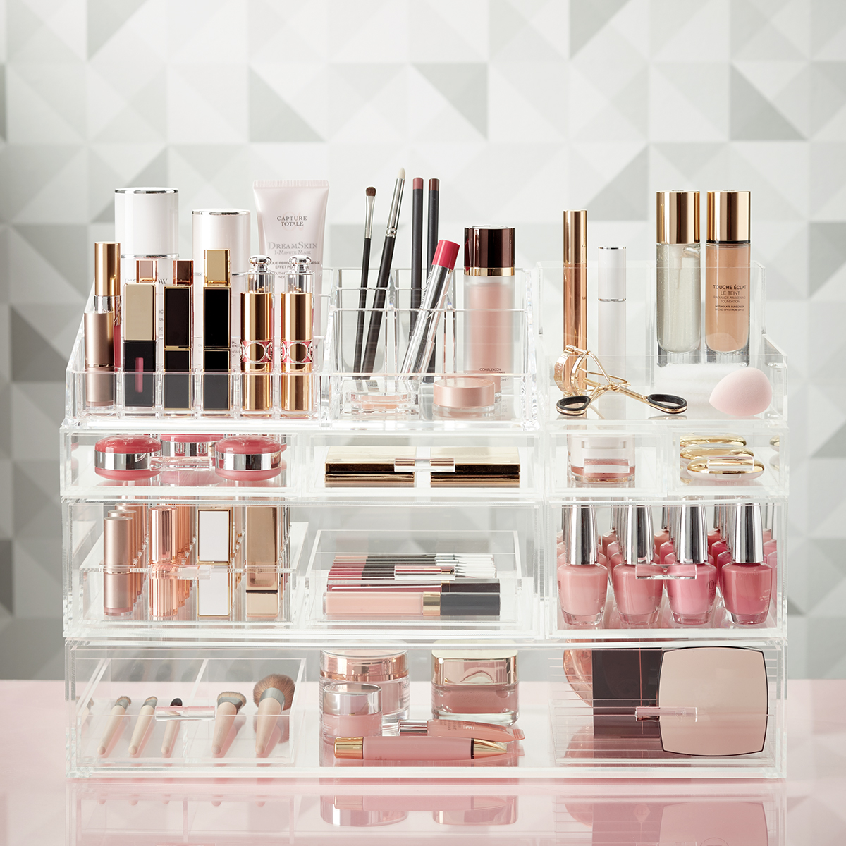 Perfect Luxe Acrylic Large Makeup U0026 Nail Polish Storage Kit