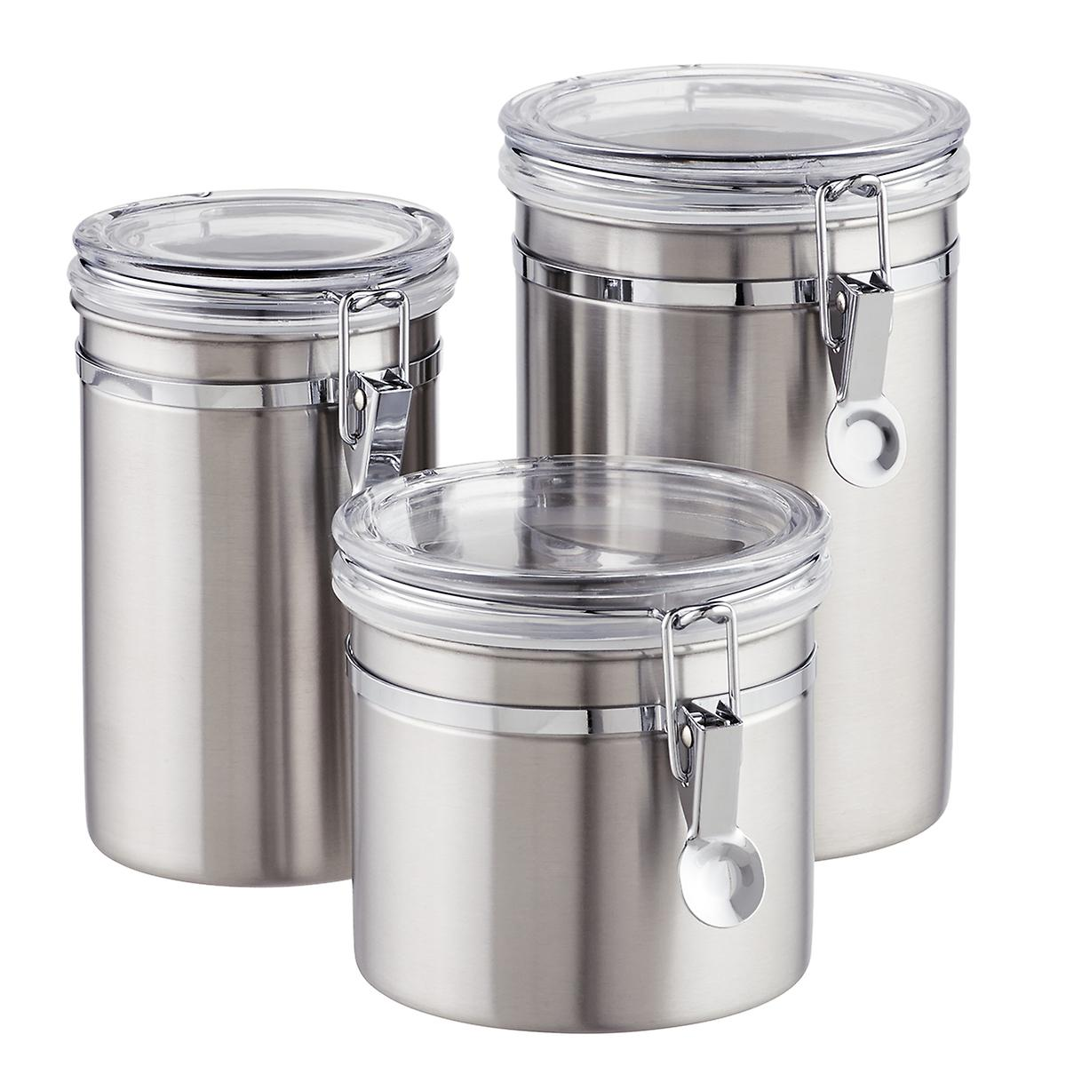 kitchen canisters stainless steel stainless steel canisters brushed stainless steel canisters the container store 5598