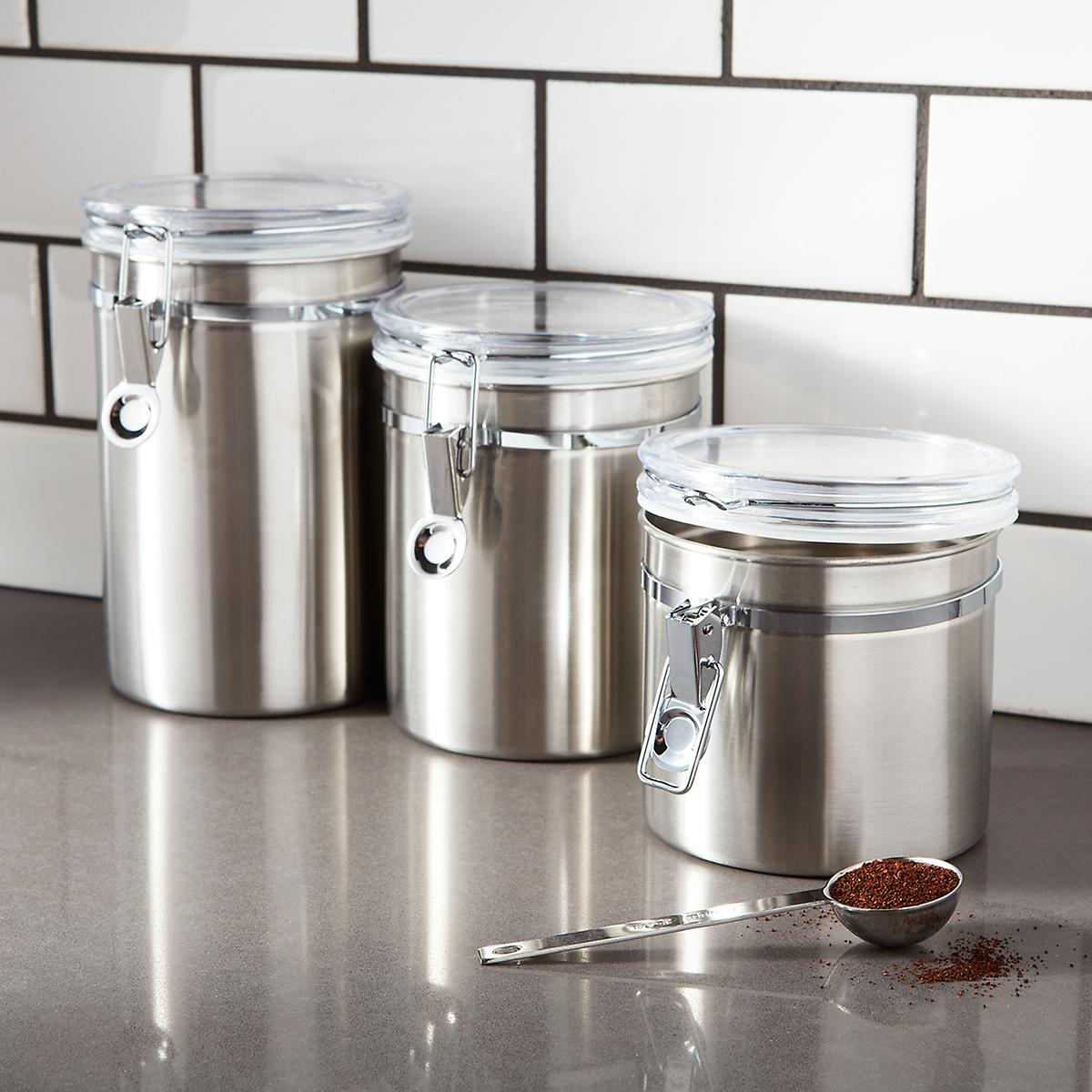 kitchen canister sets stainless steel stainless steel canisters brushed stainless steel 24618