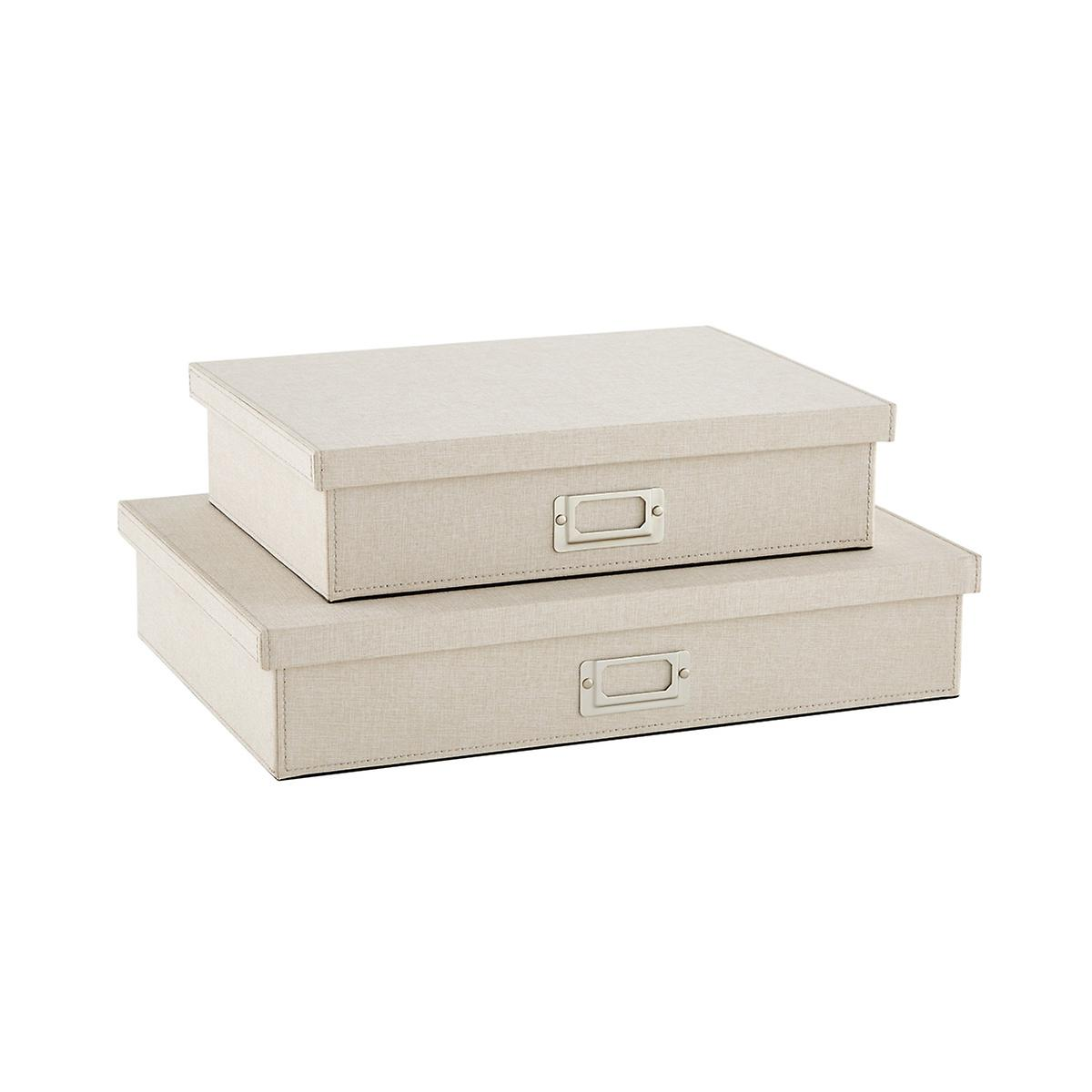 Bristol Linen Flax Office Storage Boxes