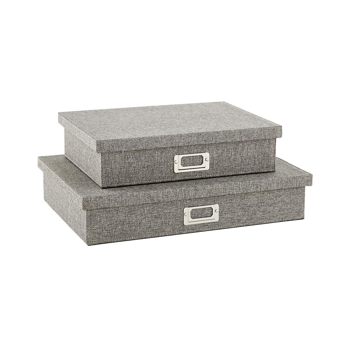 Bristol Linen Light Grey Office Storage Boxes