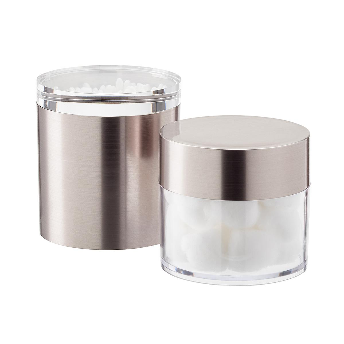 Brushed Nickel Metallic Canisters with Lids