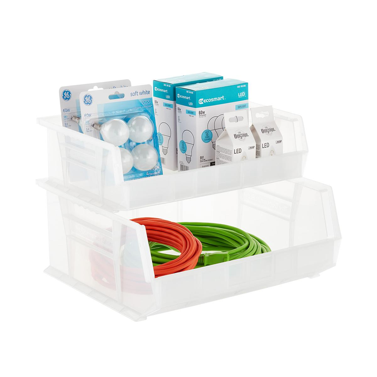 Utility Extra Wide Stackable Plastic Bins
