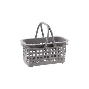 Small Grey Cestino Stackable Storage Basket with Handle