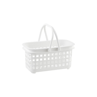 Small White Cestino Stackable Storage Basket With Handle
