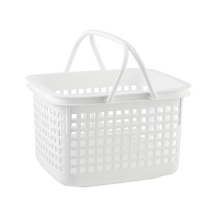 Medium White Cestino Stackable Storage Basket with Handle