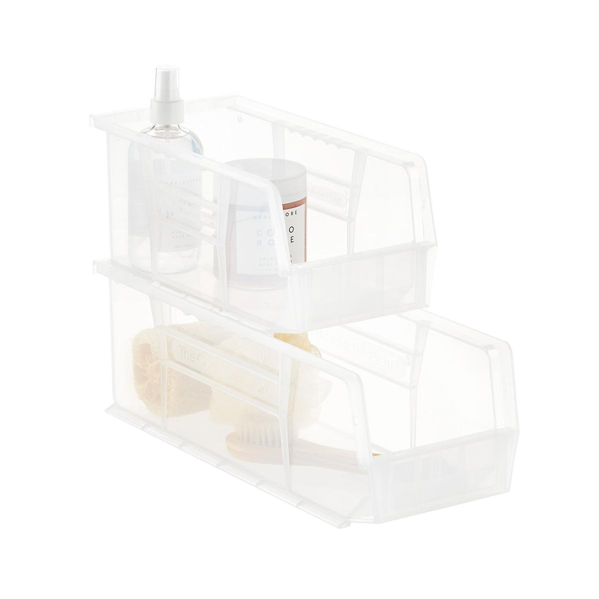 Utility Narrow Stackable Plastic Bins