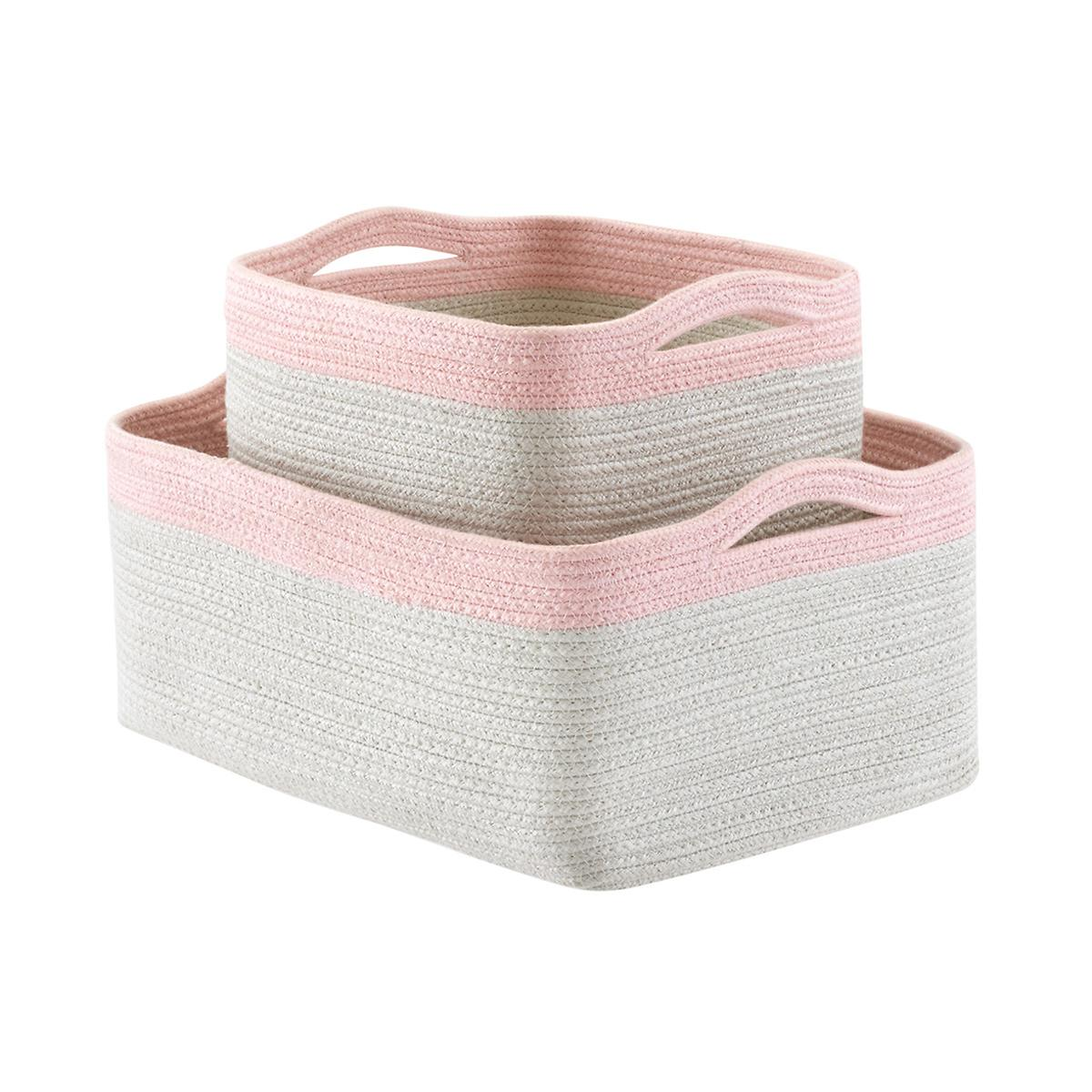 Blush Two-Tone Storage Bins with Handles