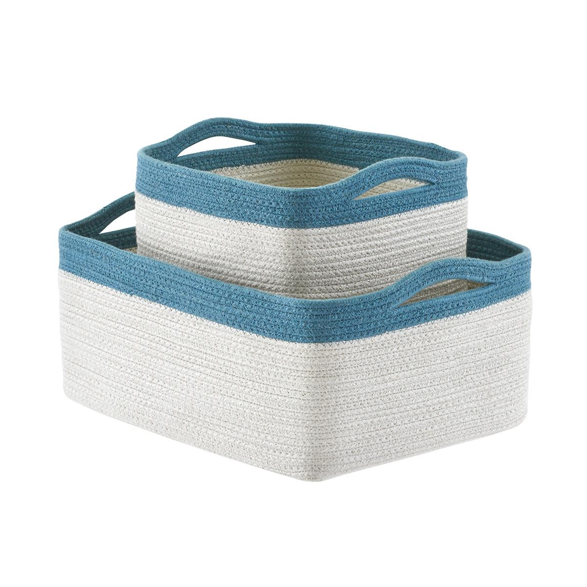 Blue Two-Tone Storage Bins with Handles