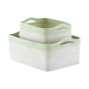 Mint Two-Tone Storage Bins with Handles