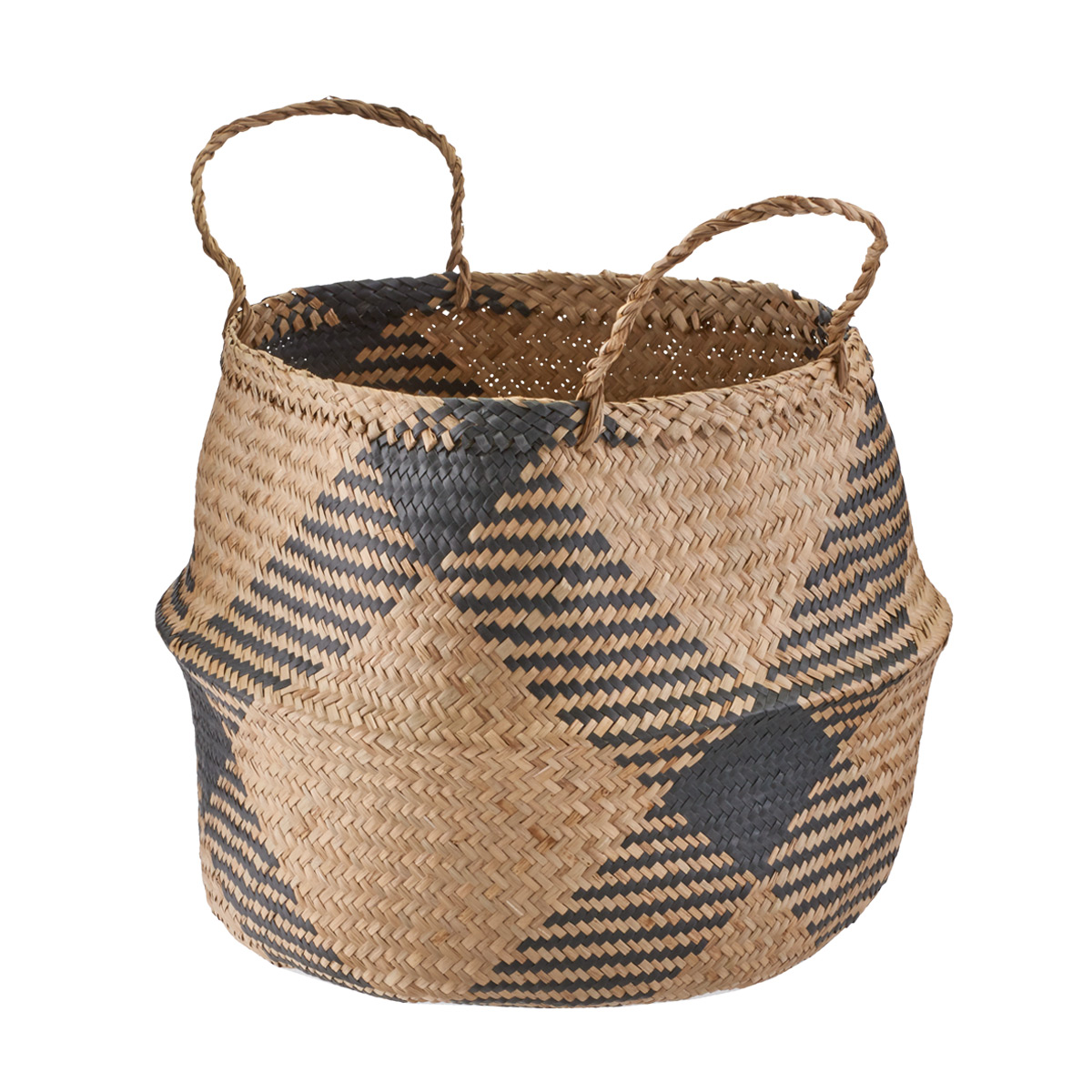 Large Diamonds Seagrass Belly Basket