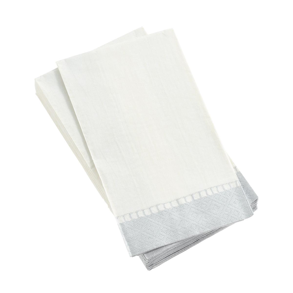 Silver Border Linen Guest Towels