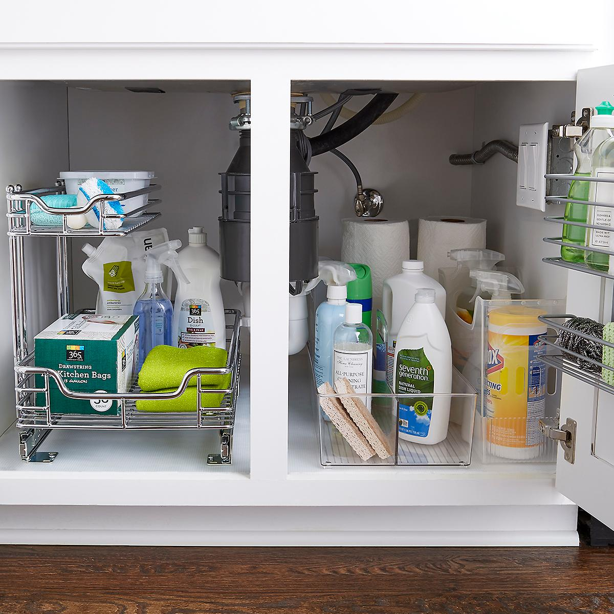 Kitchen Storage And Organization: Chrome 2-Tier Sliding Organizer