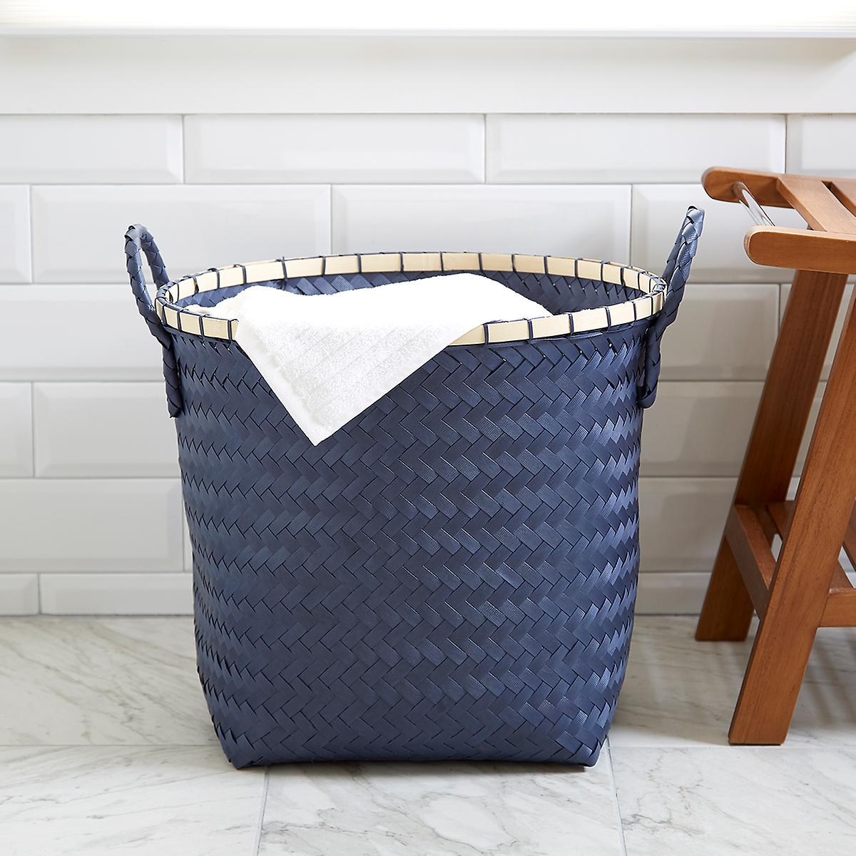 Slate Blue Strapping Basket with Bamboo Trim