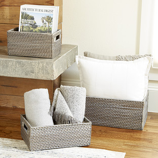 Grey Rattan Storage Bins with Handles