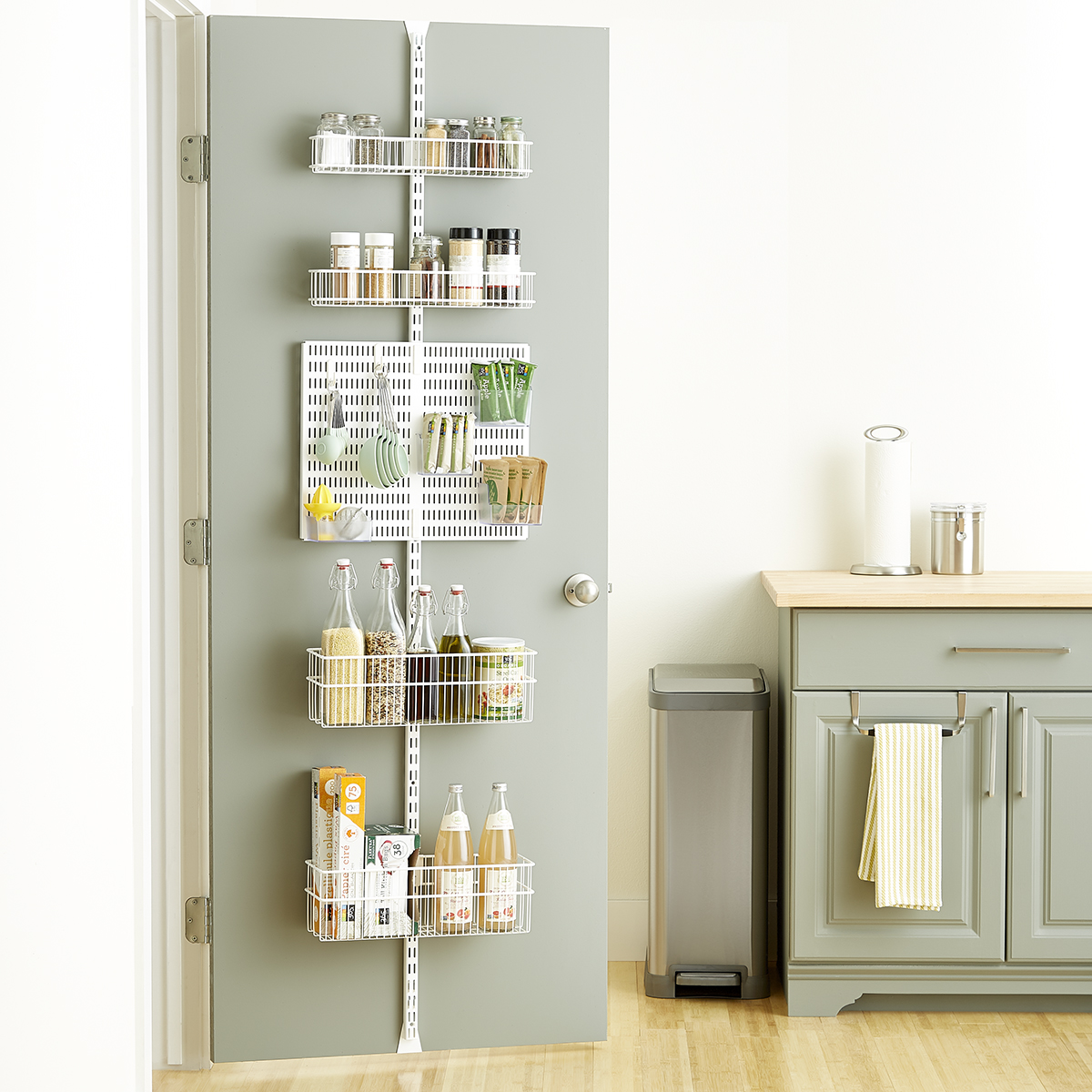 Elfa Utility White Wire Kitchen Over the Door Rack