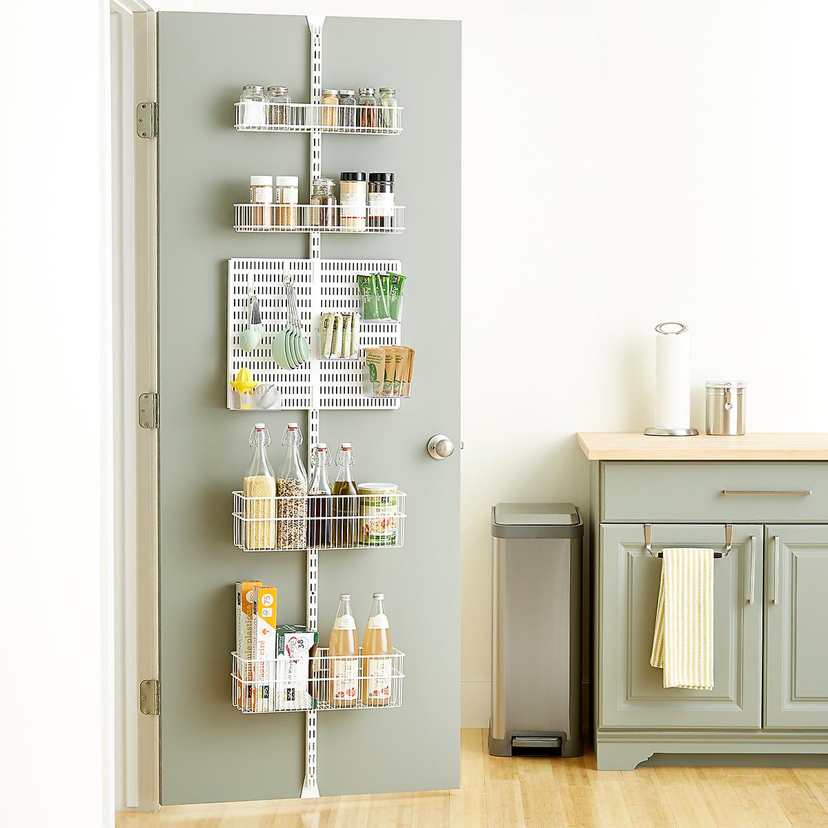 Elfa Utility White Wire Kitchen Door & Wall Rack