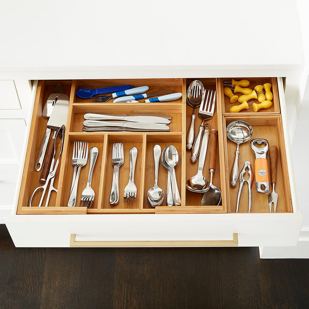 Bamboo Large Drawer Organizer Starter Kit