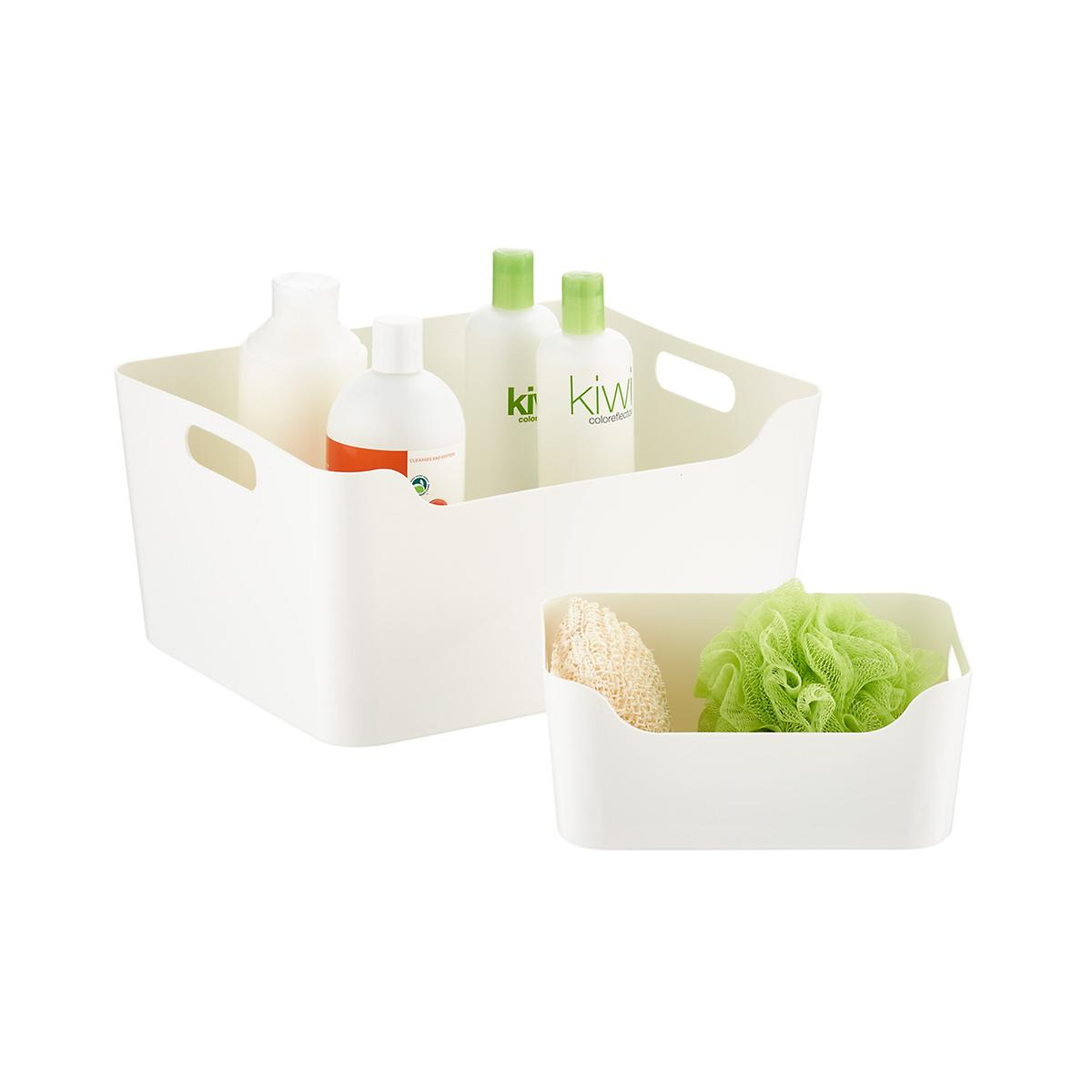 White Plastic Storage Bins with Handles