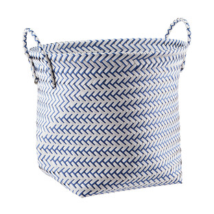 Slate Blue & White Strapping Basket