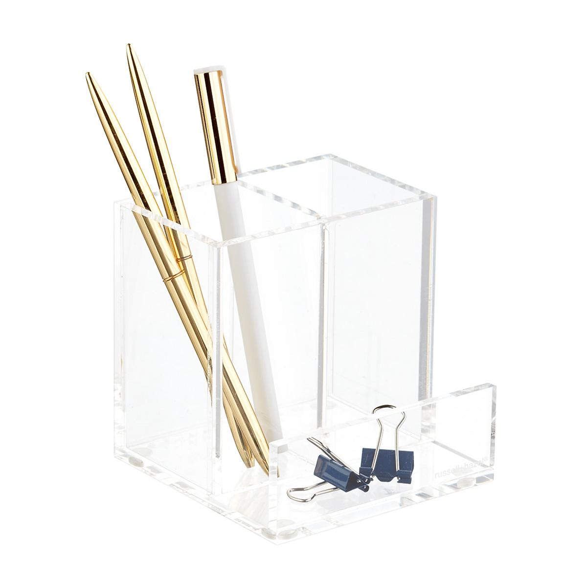 Russell Hazel Clear Pencil Cup & Card Organizer