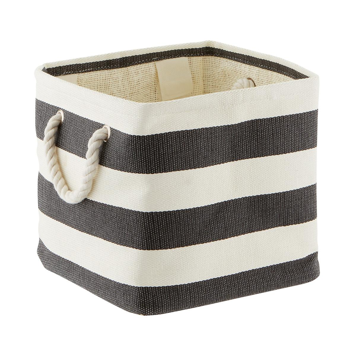 Charcoal & Ivory Rugby Stripe Storage Cube with Rope Handles