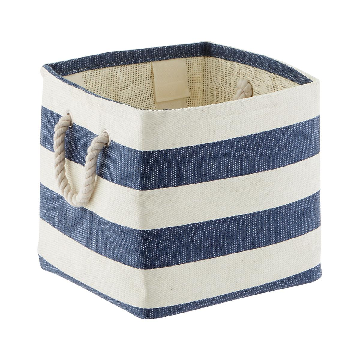 Navy & Ivory Rugby Stripe Storage Cube with Rope Handles