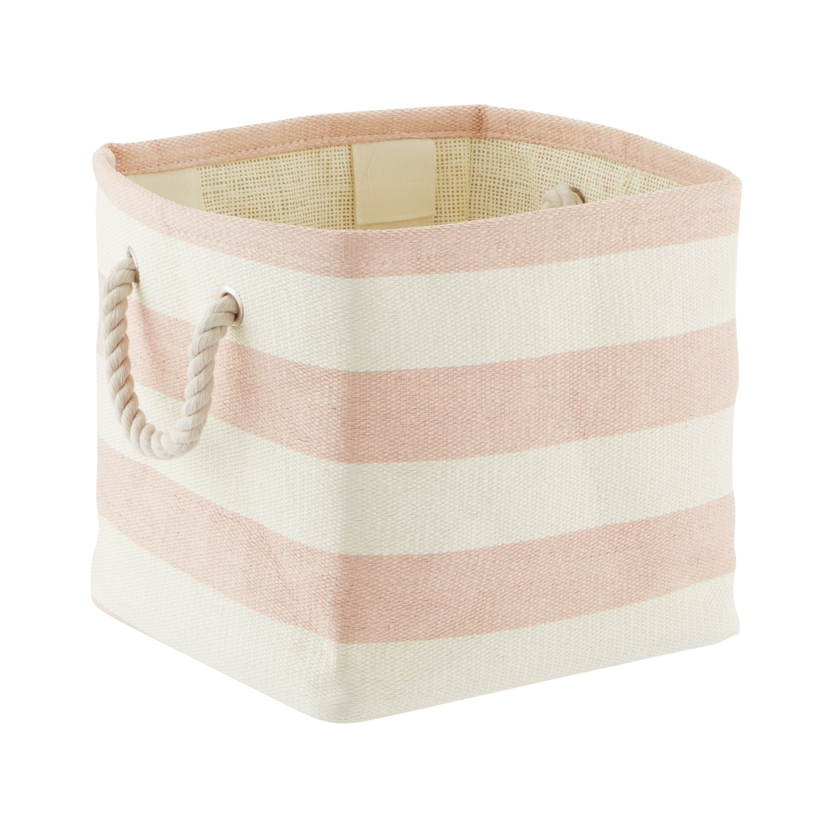 Blush & Ivory Rugby Stripe Storage Cube with Rope Handles