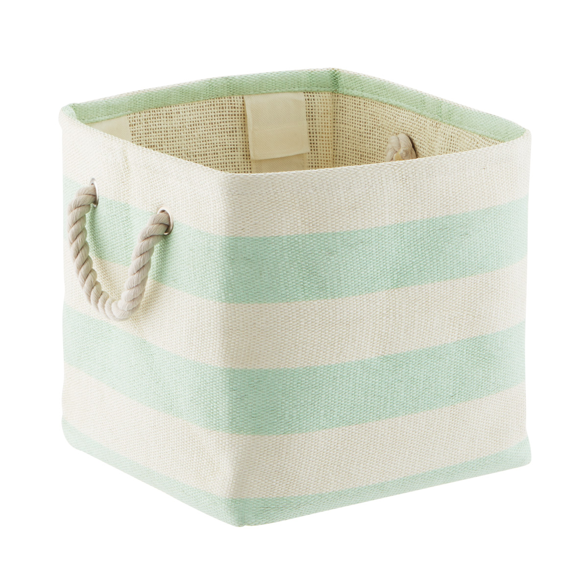 Mint & Ivory Rugby Stripe Storage Cube with Rope Handles