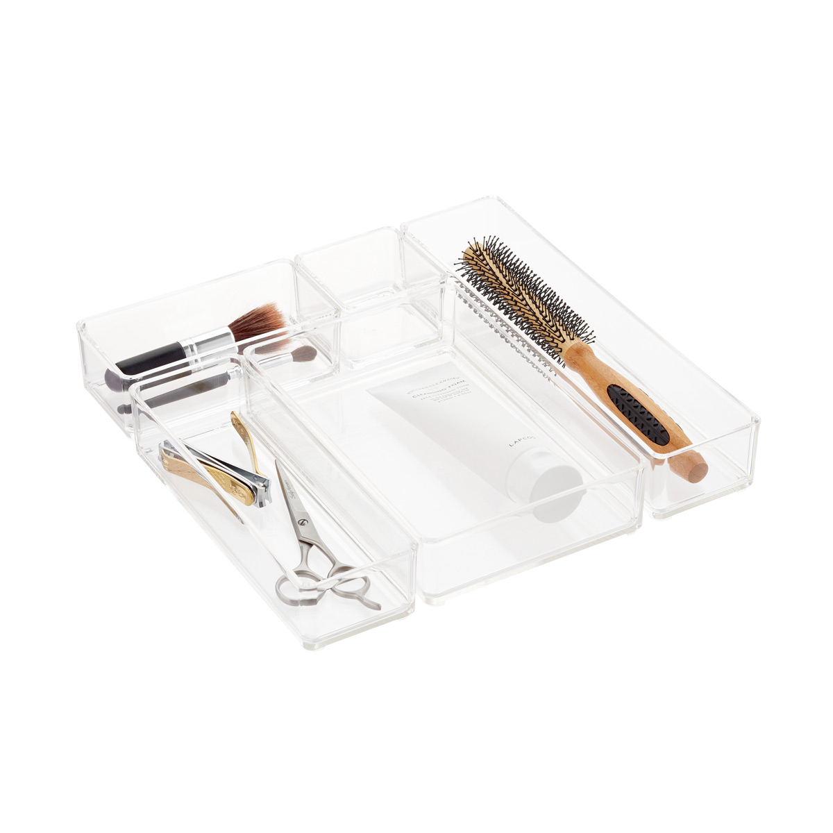 Clear Acrylic Stackable Drawer Organizers Set of 5