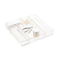 Clear Acrylic Stackable Drawer Organizers Copper Trim Set of 5