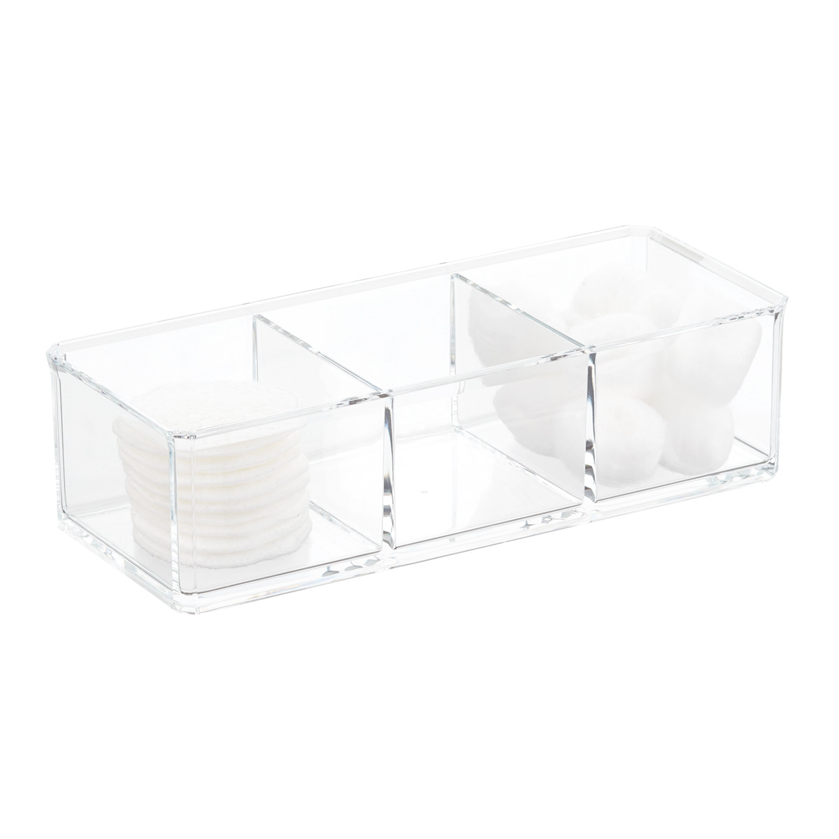 3-Section Acrylic Edge Stacking Bin