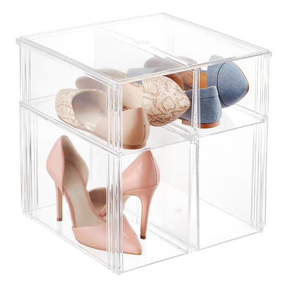 Premium Stackable Tall Shoe Bin Case of 4