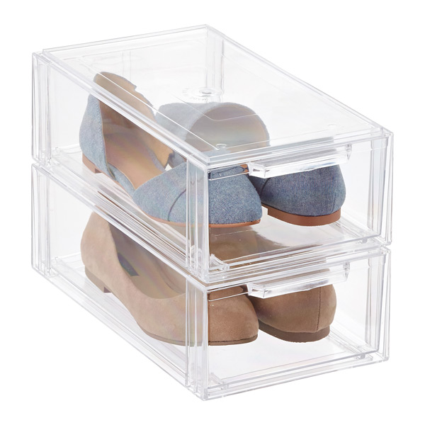 Clear Stackable Shoe Drawer Case of 6