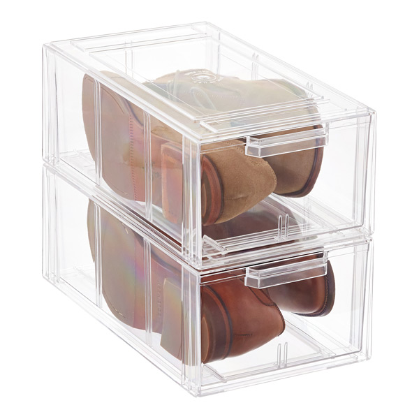 Clear Stackable Large Shoe Drawer Case of 4