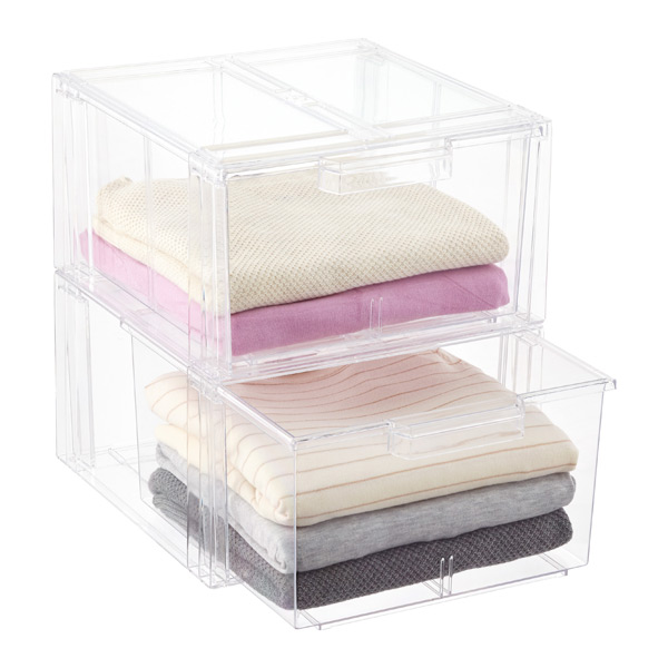 Clear Stackable Sweater Drawer Case of 2