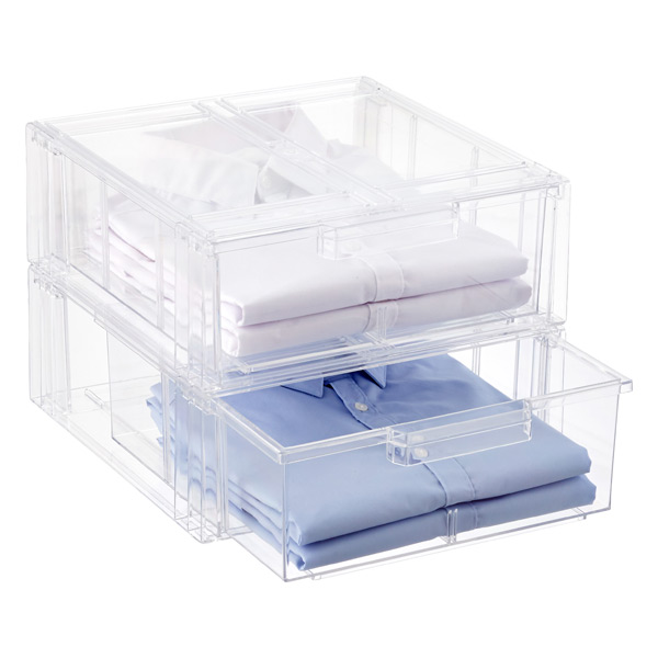 Clear Stackable Shirt & Accessory Drawer Case of 3
