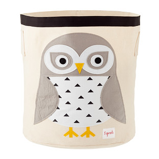 3 Sprouts Snow Owl Canvas Toy Storage Bin