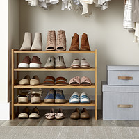 2 Tier Bamboo Stackable Shoe Shelf