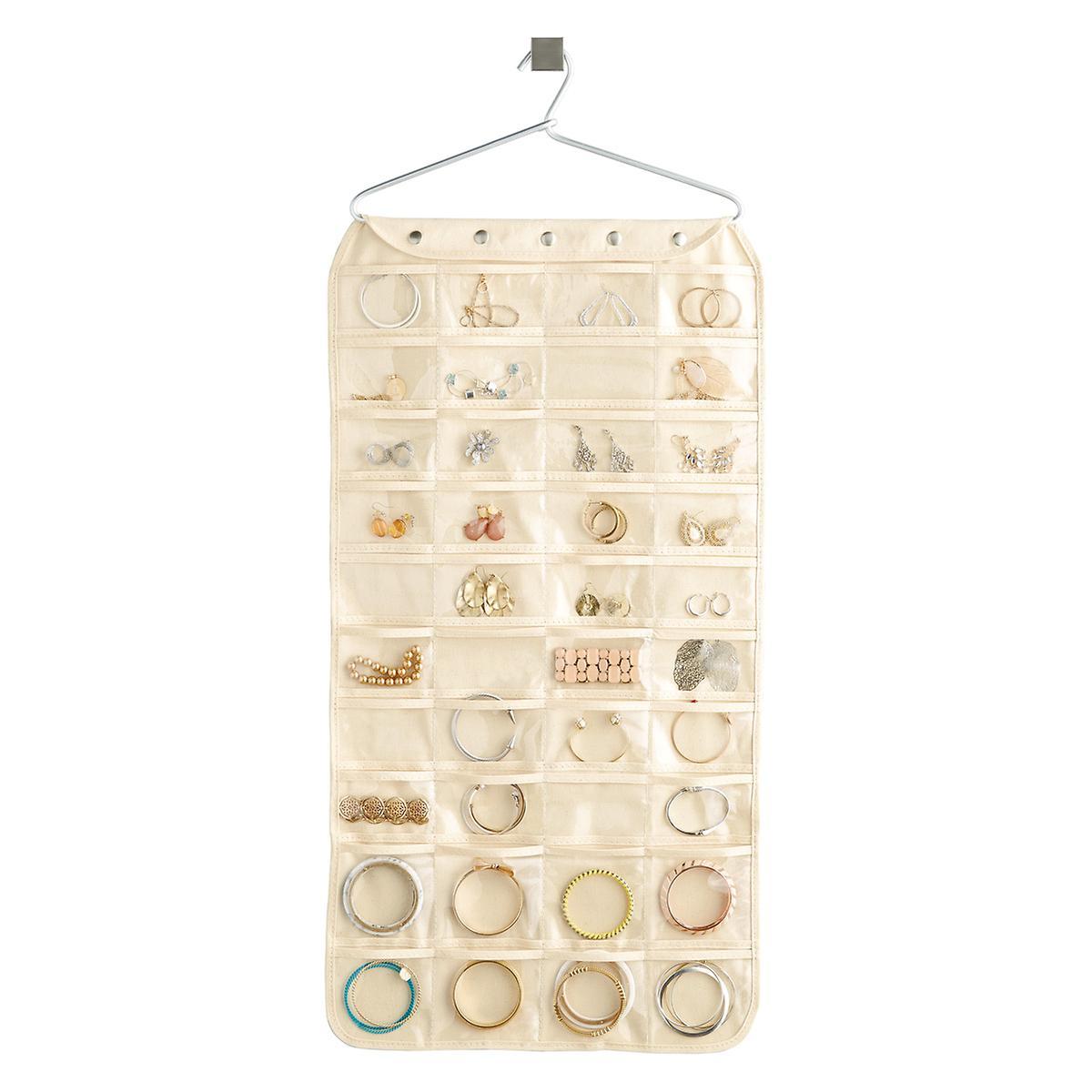 Hanging Jewelry Holder 80 Pocket Canvas Hanging Jewelry Organizer