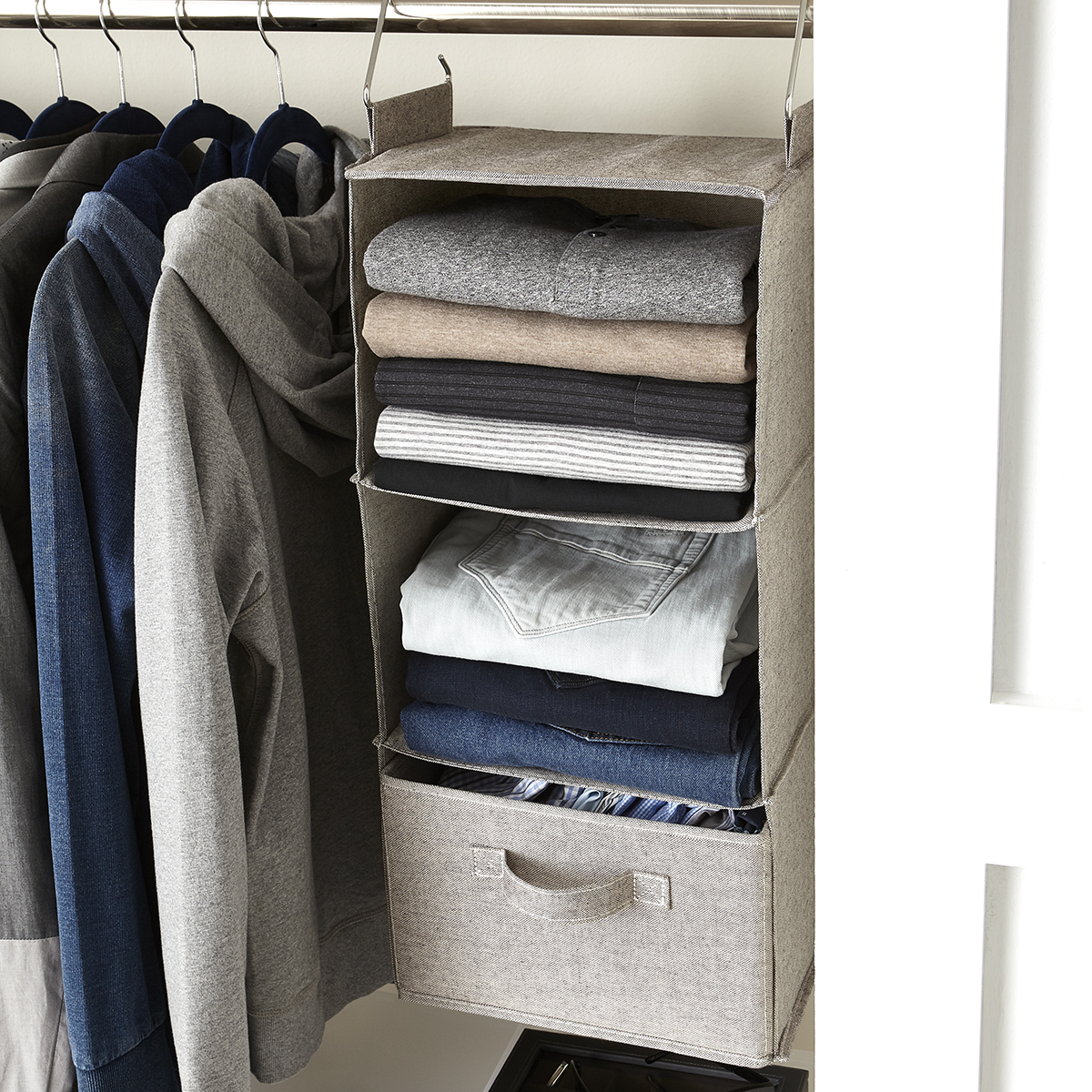 Grey 3-Compartment Hanging Sweater Organizer