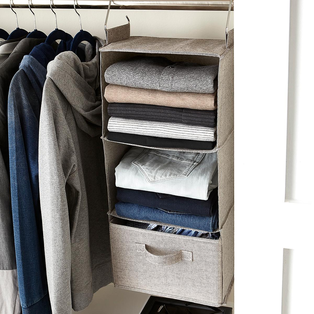 Grey 3 Compartment Hanging Sweater Organizer The