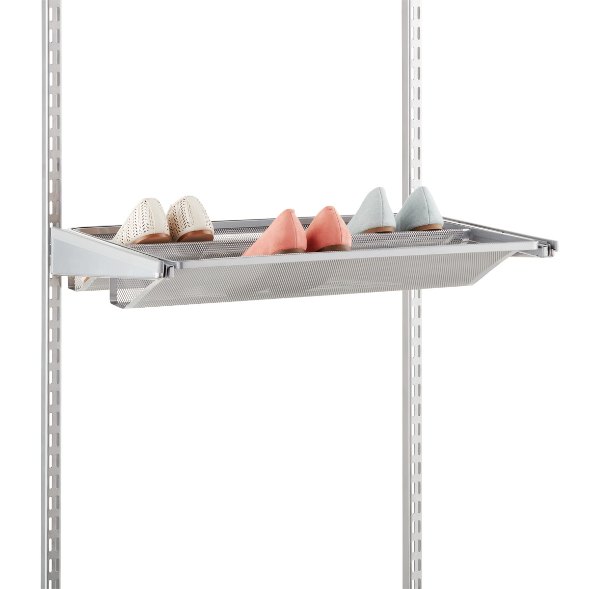 Platinum Elfa Gliding Mesh Shoe Shelves