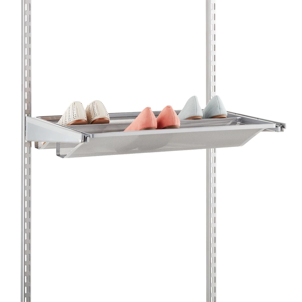 Platinum Elfa Gliding Mesh Shoe Shelves