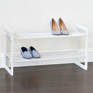 White 2 Tier Stackable Mesh Shoe Shelf The Container Store
