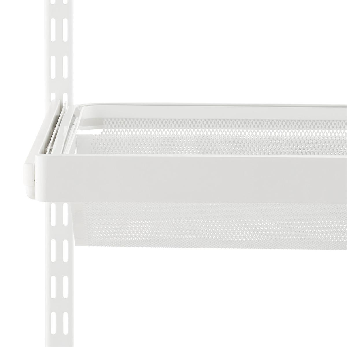 White Elfa Décor Gliding Shelf Fascia