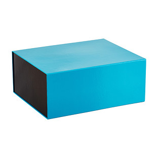 Blue Collapsible Gift Box with with Striped Interior