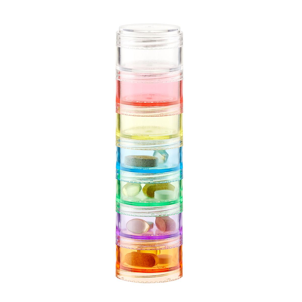 Multi-Color 7-Section Stackable Pill Organizer