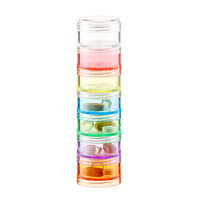 Multi Color 7 Section Stackable Pill Organizer